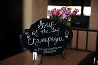 DEL MAR, CA - NOVEMBER 04: A menu sign is shown on Day 2 of the 2017 Breeders' Cup World Championships at Del Mar Racing Club on November 4, 2017 in Del Mar, California. (Photo by Carson Denis/Eclipse Sportswire/Breeders Cup)
