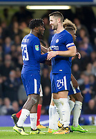 Michy Batshuayi of Chelsea celebrates his hat trick with Gary Cahill of Chelsea, Carabao Cup, Third Round, Chelsea v Nottingham Forrest, Stamford Bridge, London, United Kingdom, 20th  September 2017