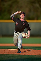 Rutgers Scarlet Knights relief pitcher Tommy Genuario (27) delivers a pitch during a game against the Indiana Hoosiers on February 23, 2018 at North Charlotte Regional Park in Port Charlotte, Florida.  Indiana defeated Rutgers 7-6.  (Mike Janes/Four Seam Images)