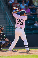 Kevin Torres (35) of the Hickory Crawdads at bat against the Augusta GreenJackets at L.P. Frans Stadium on May 11, 2014 in Hickory, North Carolina.  The GreenJackets defeated the Crawdads 9-4.  (Brian Westerholt/Four Seam Images)
