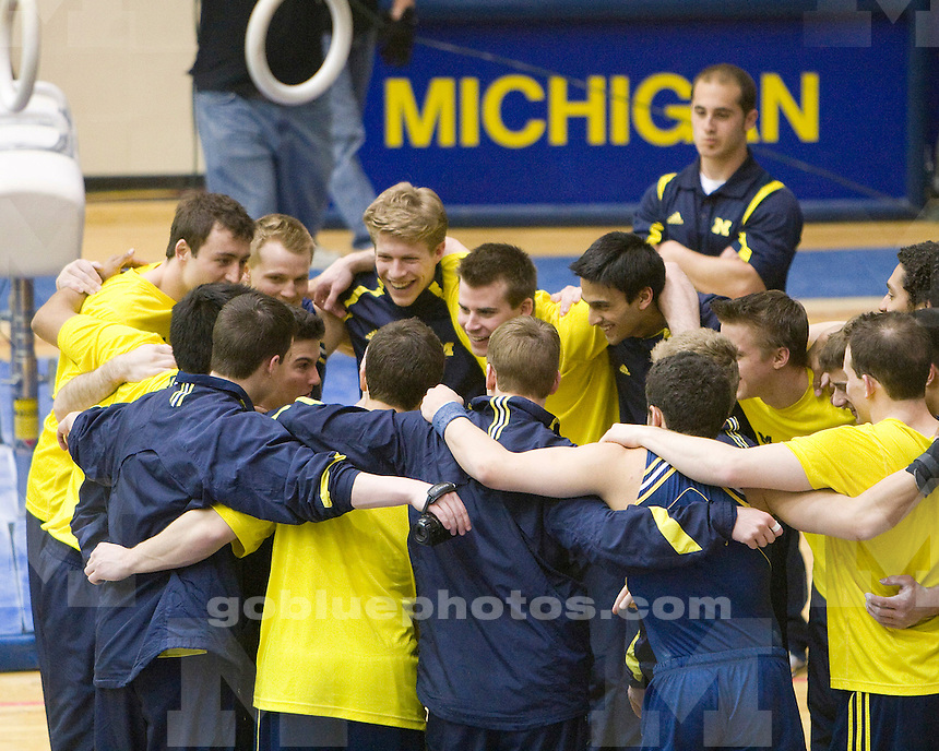 University of Michigan gymnastics (men) 364.45-353.80 victory over Ohio State on Senior Night, 3/20/2010, at Cliff Keen Arena.