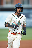 Lolo Sanchez (26) of the Greensboro Grasshoppers rounds the bases after hitting a 3-run home run against the Hagerstown Suns at First National Bank Field on April 6, 2019 in Greensboro, North Carolina. The Suns defeated the Grasshoppers 6-5. (Brian Westerholt/Four Seam Images)