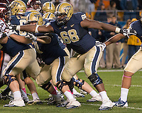 Pitt offensive lineman T.J. Clemmings (68). The Pitt Panthers defeated the Virginia Tech Hokies 21-16 at Heinz Field, Pittsburgh Pennsylvania on October 16, 2014