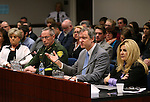 From left, Washoe County Sheriff Chuck Allen, John Lott, an academic and president of an organization called the Crime Prevention Research Center and Assemblywoman Michele Fiore, R-Las Vegas, urge lawmakers to support a bill that would allow concealed weapon permit holders to carry their weapons on state college campuses during a hearing at the Legislative Building in Carson City, Nev., on Thursday, March 5, 2015.  <br /> Photo by Cathleen Allison