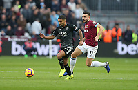 Burnley's Aaron Lennon and West Ham United's Robert Snodgrass<br /> <br /> Photographer Rob Newell/CameraSport<br /> <br /> The Premier League - West Ham United v Burnley - Saturday 3rd November 2018 - London Stadium - London<br /> <br /> World Copyright &copy; 2018 CameraSport. All rights reserved. 43 Linden Ave. Countesthorpe. Leicester. England. LE8 5PG - Tel: +44 (0) 116 277 4147 - admin@camerasport.com - www.camerasport.com