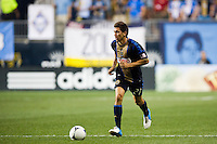 Michael Farfan (21) of the Philadelphia Union. The Columbus Crew defeated the Philadelphia Union 2-1 during a Major League Soccer (MLS) match at PPL Park in Chester, PA, on August 29, 2012.