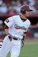 Second baseman DC Arendas (7) of the South Carolina Gamecocks bats in an NCAA Division I Baseball Regional Tournament game against the Maryland Terrapins on Sunday, June 1, 2014, at Carolina Stadium in Columbia, South Carolina. Maryland won, 10-1, to win the tournament. (Tom Priddy/Four Seam Images)