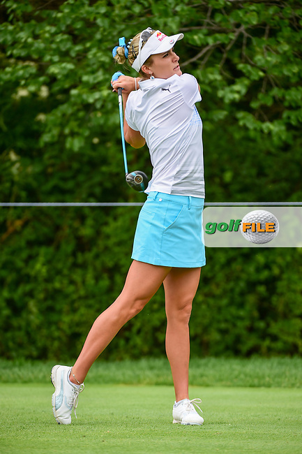 Lexi Thompson (USA) watches her tee shot on 11 during Thursday's round 1 of the 2017 KPMG Women's PGA Championship, at Olympia Fields Country Club, Olympia Fields, Illinois. 6/29/2017.<br /> Picture: Golffile | Ken Murray<br /> <br /> <br /> All photo usage must carry mandatory copyright credit (&copy; Golffile | Ken Murray)