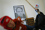 "Derek Goss <cq> is attacked by his puppet called Scooch worn by Carey Wilson <cq>, from Orange City, on Friday, February 15, 2008, during the filming of episode 72 of the Derek Goss Show in DeBary. Goss said that Scooch is a ""Cuban/Puerto Rican puppet."" Derek Goss <cq>, is a web designer who was born with Thrombocytopenia Absent Radii, also called TAR syndrome. It's a birth defect in which his hands are at his shoulders and he never had the lower part of his legs, so he walks on his knees. He exploits his condition by performing crazy gross-out stunts in a series of crazy gross-out stunts that he posts to YouTube for his show the Derek Goss Show. He's been doing the show for one year and almost five months. (Daytona Beach News-Journal, Chad Pilster)"