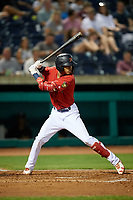 State College Spikes shortstop Delvin Perez (23) at bat during a game against the West Virginia Black Bears on August 30, 2018 at Medlar Field at Lubrano Park in State College, Pennsylvania.  West Virginia defeated State College 5-3.  (Mike Janes/Four Seam Images)