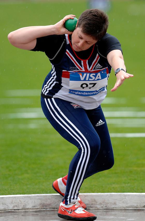 Photo: Richard Lane..VISA Paralympic World Cup 2007. Athletics. 13/05/2007. .Beverley Jones of Great Britain in the women's F37 shot put.