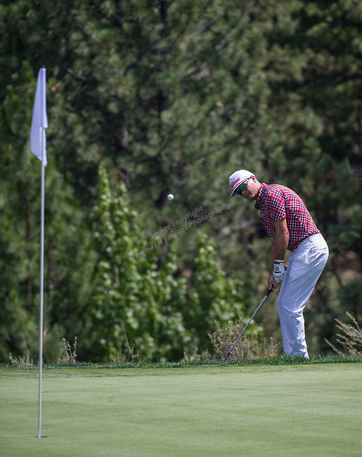Tyrone Van Aswegen hits a chip shot on the 16th hole during the Barracuda Championship PGA golf tournament at Montrêux Golf and Country Club in Reno, Nevada on Sunday, July 28, 2019.