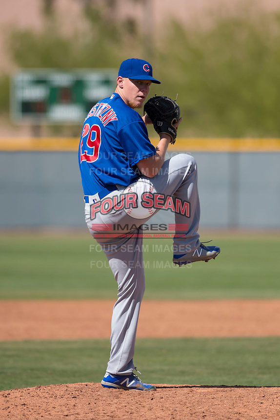 Chicago Cubs relief pitcher Rob Zastryzny (29) during a Minor League Spring Training game against the Colorado Rockies at Sloan Park on March 27, 2018 in Mesa, Arizona. (Zachary Lucy/Four Seam Images)