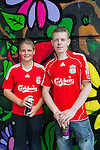 Bambi Mulhern and Niall Connor at the Mural painted under the Bridge of Peace for the Florale Competition by the Boyne Project..Picture: Shane Maguire / www.newsfile.ie