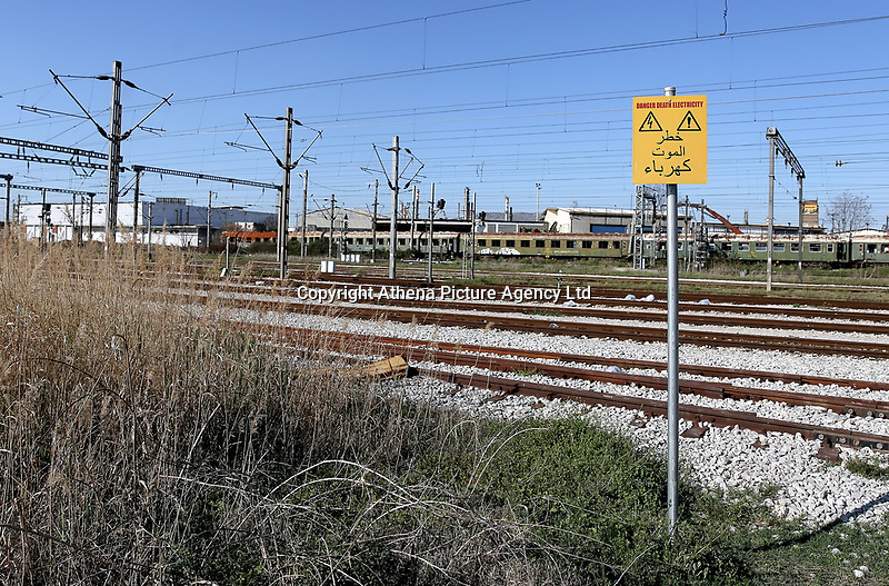 Pictured: A warning sign in Arabic at the OSE freight depot in Thessaloniki, Greece. Wednesday 05 April 2017<br /> Re: A year after an agreement was signed between Greece and Turkey for the management of refugees. Migrants, mostly from Morocco, Algeria and Tunisia, have been living in disused train carriages at the Thessaloniki freight depot of OSE in northern Greece, the company managing the railways in the country. Some of the migrants climb onto moving trains, or even hide themselves in storage areas, hoping that they will cross the border.