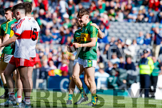 Niall Donohue and Michael Potts Kerry players celebrate after defeating Derry in the All-Ireland Minor Footballl Final in Croke Park on Sunday.