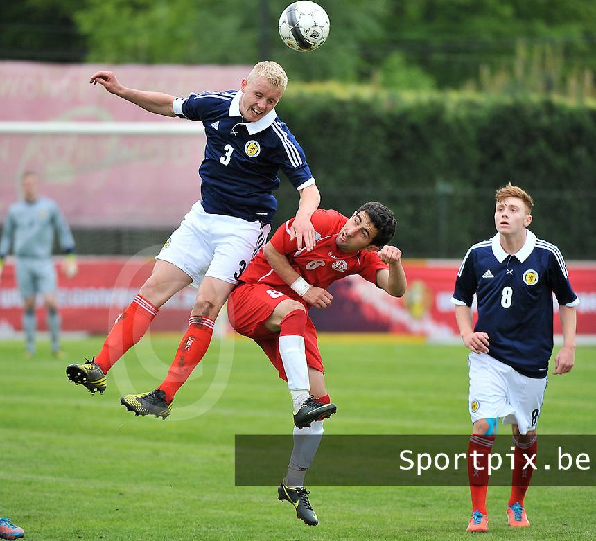 Scotland U19 - Georgia U19 : Jack Grimmer (3) wins the header from Avto Endeladze (middle).foto DAVID CATRY / Nikonpro.be