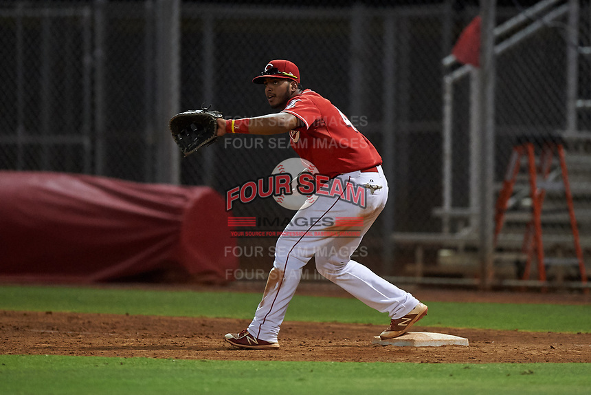 AZL Reds first baseman Jose Tello (40) during an Arizona League game against the AZL Athletics Green on July 21, 2019 at the Cincinnati Reds Spring Training Complex in Goodyear, Arizona. The AZL Reds defeated the AZL Athletics Green 8-6. (Zachary Lucy/Four Seam Images)