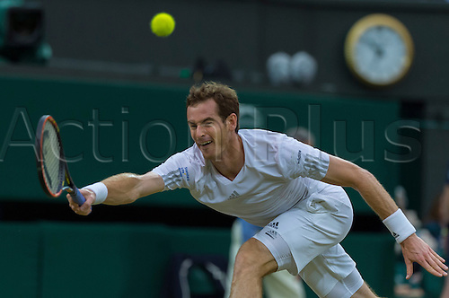 30.06.2014.  London, England.  Wimbledon Championships Day Seven Andy Murray of United Kingdom in action against Kevin Anderson of South Africa during day seven men's singles fourth round match at the Wimbledon Tennis Championships at The All England Lawn Tennis Club in London, United Kingdom