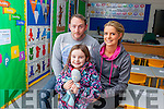 CANT WAIT FOR SCHOOL: Little Claudia Duffin from Manor Tralee, pictured with her dad Eric Duffin and mom Naomi Curtin, can't wait to start back to school today (Thursday) as the new Blennerville National School opens for the very first time.