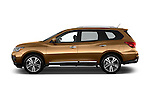 Car Driver side profile view of a 2018 Nissan Pathfinder Platinum 5 Door SUV Side View