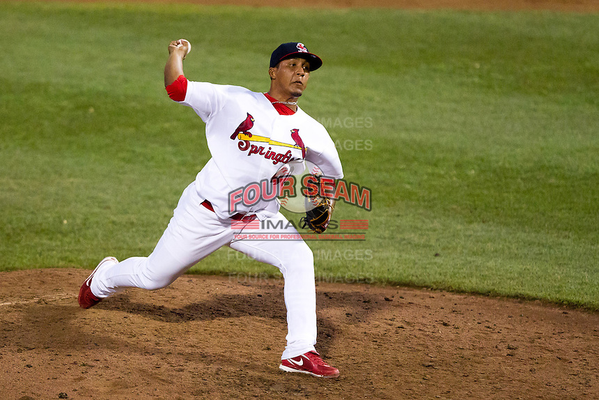 Jorge Rondon (40) of the Springfield Cardinals delivers a pitch during a game against the Northwest Arkansas Naturals at Hammons Field on July 31, 2011 in Springfield, Missouri. Northwest Arkansas defeated Springfield 9-1. (David Welker / Four Seam Images)