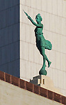 """""""The Spirit of Progress"""" statue atop the historic Montgomery Ward complex, seen from the Chicago Architecture Foundation River Cruise April 5, 2016. (Photo by Jamie Moncrief)"""