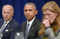 (L-R) United States Vice President Joe Biden, U.S. President Barack Obama and Samantha Power, United States Ambassador to the United Nations, attend a bilateral meeting with Prime Minister Haider al-Abadi of Iraq at the Lotte New York Palace Hotel in New York, NY, on September 19, 2016. <br /> Credit: Anthony Behar / Pool via CNP /MediaPunch