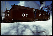 3/4 rear side-view of rotary #OY under steam in Chama.<br /> C&amp;TS  Chama, NM  prior to 2/1978
