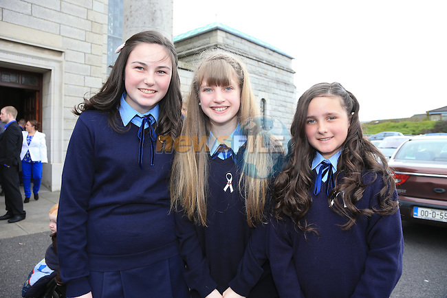 Emma White, Ellen Murphy and Cara Cosgrave.students from Presentation National School Ballymakenny road who made there confirmation with Bishop Clifford in Our Lady of Lourdes Church..Picture: Fran Caffrey / www.newsfile.ie ..