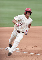 NWA Democrat-Gazette/CHARLIE KAIJO Arkansas Razorbacks infielder Jacob Nesbit (5) runs home during game two of the College Baseball Super Regional, Sunday, June 9, 2019 at Baum-Walker Stadium in Fayetteville. Ole Miss forces a game three with a 13-5 win over the Razorbacks