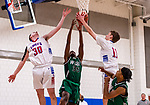 WOODBURY, CT. 08 January 2020-010820BS556 - Nonnewuaug's Tyler Lindberg (11), right, grabs a rebound from the hands of Wilby's Justin Parker (35), center, and his Nonnewaug teammate Ethan Ciesieiski (3), during a Boys Basketball game betweem Wilby and Nonnewaug at Nonnewaug High School in Woodbury on Wednesday. Bill Shettle Republican-American