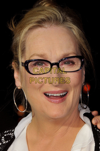 "MERYL STREEP.""Doubt"" Los Angeles Premiere at the Academy of Motion Picture Arts and Sciences, Beverly Hills, CA, USA..November 18th, 2008.headshot portrait glasses silver hoop earrings mouth open .CAP/ADM/BP.©Byron Purvis/AdMedia/Capital Pictures."