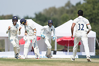 Middlesex players celebrate as Lewis McManus (wk)  is bowled by Thilan Walallawita during Middlesex CCC vs Hampshire CCC, Bob Willis Trophy Cricket at Radlett Cricket Club on 11th August 2020