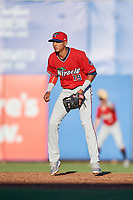 Fort Myers Miracle shortstop Nelson Molina (19) during a game against the Dunedin Blue Jays on April 17, 2018 at Dunedin Stadium in Dunedin, Florida.  Dunedin defeated Fort Myers 5-2.  (Mike Janes/Four Seam Images)