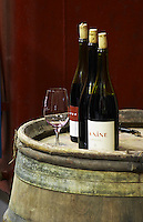 La nine. Domaine Jean Baptiste Senat. In Trausse. Minervois. Languedoc. Barrel cellar. France. Europe. Bottle. Wine glass.
