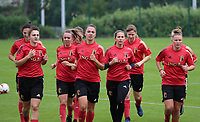 20200627 - TUBIZE , Belgium : Red Flames U19 (front row left to right) Zenia Mertens, Romy Camps, Josephine Delvaux and Stephanie Pirotte, doing the warm up run during a training session of the Belgian Red Flames U19, on the 27 th of June 2020 in Tubize.  PHOTO SEVIL OKTEM| SPORTPIX.BE