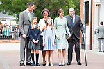 King Felipe VI of Spain, Princess Sofia of Spain, Queen Letizia of Spain, Princess Leonor, Queen Sofia and King Juan Carlos of Spain pose to the media at First Communion of princess Sofia at Asuncion de Nuestra Senora Church in Madrid, May 17, 2017. Spain.<br /> (ALTERPHOTOS/BorjaB.Hojas)