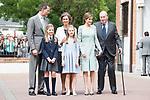 King Felipe VI of Spain, Princess Sofia of Spain, Queen Letizia of Spain, Princess Leonor, Queen Sofia and King Juan Carlos of Spain pose to the media at First Communion of princess Sofia at Asuncion de Nuestra Senora Church in Madrid, May 17, 2017. Spain.<br /> (ALTERPHOTOS/BorjaB.Hojas)