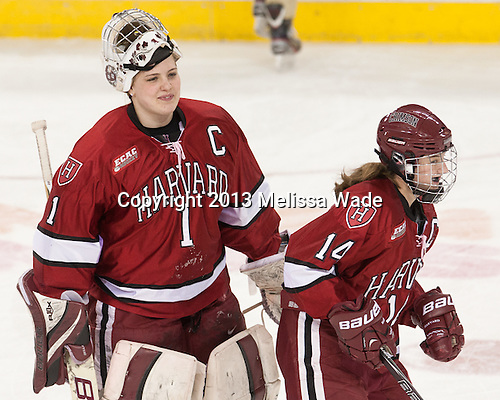 Laura Bellamy (Harvard - 1), Jillian Dempsey (Harvard - 14) - The Boston College Eagles defeated the visiting Harvard University Crimson 3-1 in their NCAA quarterfinal matchup on Saturday, March 16, 2013, at Kelley Rink in Conte Forum in Chestnut Hill, Massachusetts.
