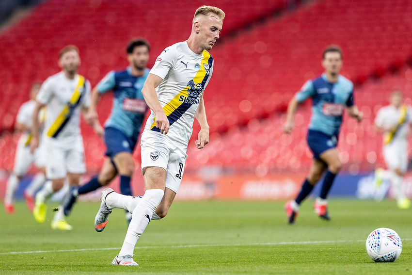 Oxford United's Mark Sykes breaks <br /> <br /> Photographer Andrew Kearns/CameraSport<br /> <br /> Sky Bet League One Play Off Final - Oxford United v Wycombe Wanderers - Monday July 13th 2020 - Wembley Stadium - London<br /> <br /> World Copyright © 2020 CameraSport. All rights reserved. 43 Linden Ave. Countesthorpe. Leicester. England. LE8 5PG - Tel: +44 (0) 116 277 4147 - admin@camerasport.com - www.camerasport.com