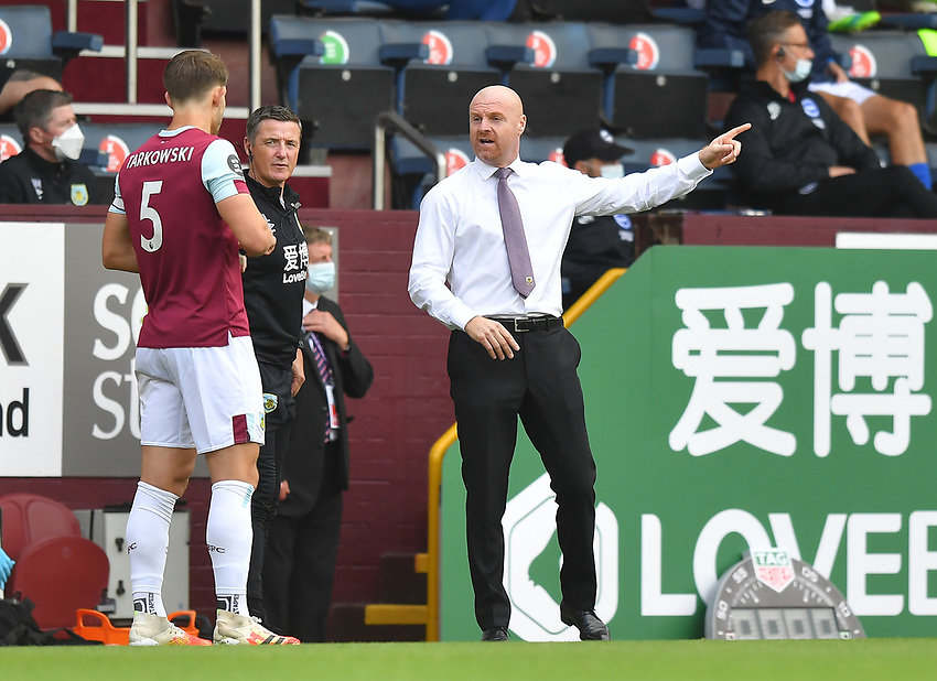 Burnley's Manager Sean Dyche instructs James Tarkowski<br /> <br /> Photographer Dave Howarth/CameraSport<br /> <br /> The Premier League - Burnley v Brighton & Hove Albion - Sunday 26th July 2020 - Turf Moor - Burnley<br /> <br /> World Copyright © 2020 CameraSport. All rights reserved. 43 Linden Ave. Countesthorpe. Leicester. England. LE8 5PG - Tel: +44 (0) 116 277 4147 - admin@camerasport.com - www.camerasport.com