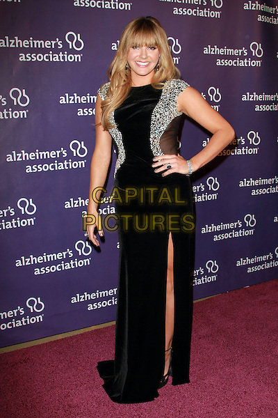 "GRACE POTTER .19th Annual ""A Night at Sardi's"" Benefiting the Alzheimer's Association held at the Beverly Hilton Hotel, Beverly Hills, California, USA, 16th March 2011..full length black dress hand on hip long maxi slit split silver embellished mirror mirrored shiny bracelet .CAP/ADM/KB.©Kevan Brooks/AdMedia/Capital Pictures."