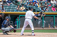 Alex Yarbrough (9) of the Salt Lake Bees at bat against the Reno Aces in Pacific Coast League action at Smith's Ballpark on May 10, 2015 in Salt Lake City, Utah.  Salt Lake defeated Reno 9-2 in Game One of the double-header. (Stephen Smith/Four Seam Images)