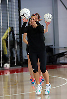 18.10.2015 Silver Ferns Jodi Brown trains for their upcoming netball test match against Australia in Christchurch. Mandatory Photo Credit ©Michael Bradley.