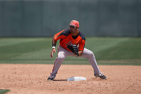 San Francisco Giants Orange second baseman Hector Santiago (43) during an Extended Spring Training game against the Oakland Athletics at the Lew Wolff Training Complex on May 29, 2018 in Mesa, Arizona. (Zachary Lucy/Four Seam Images)
