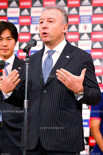 Alberto Zaccheroni (JPN), NOVEMBER 11, 2013 - Football / Soccer : Japan National Team Official Uniform Announcement Press conference at Hilton Hotel Narita, Chiba, Japan. (Photo by AFLO SPORT)