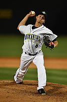 Pitcher Matt Blackham (6) of the Columbia Fireflies delivers a pitch in a game against the Augusta GreenJackets on Opening Day, Thursday, April 6, 2017, at Spirit Communications Park in Columbia, South Carolina. Columbia won, 14-7. (Tom Priddy/Four Seam Images)