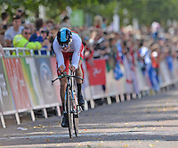 Wales' Geraint Thomas crosses the finish line<br /> <br /> Photographer Chris Vaughan/CameraSport<br /> <br /> 20th Commonwealth Games - Day 8 - Thursday 31st July 2014 - Cycling - time trial - Glasgow - UK<br /> <br /> © CameraSport - 43 Linden Ave. Countesthorpe. Leicester. England. LE8 5PG - Tel: +44 (0) 116 277 4147 - admin@camerasport.com - www.camerasport.com