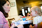 Sharon Ferrell eats lunch with her daughter Ivy, 1, at their Lincoln, CA home May 13, 2009.